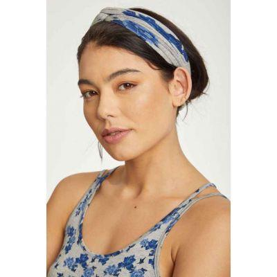 bandeaux cheveux bambou et coton bio bleu et gris imprimé