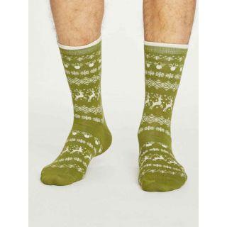 Chaussettes homme couleur vertes, bambou imprimé de rennes