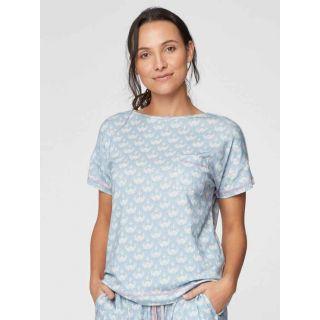 Haut de pyjama bleu pour femme