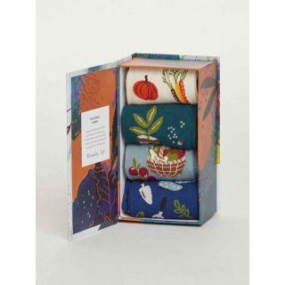 Boîte cadeaux 4 paires chaussettes thème jardinage