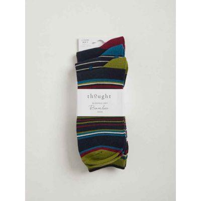 Pack 3 paires de chaussettes rayures et pois bordeaux, vert et noir
