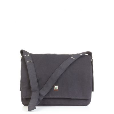 Grand sac chanvre pure messenger gris