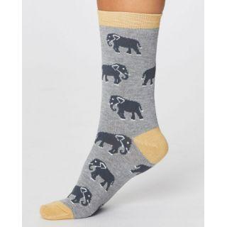 Chaussettes femme bambou éléphants grises