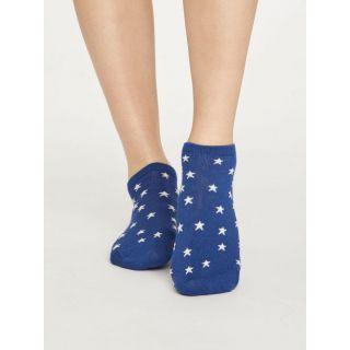Socquettes bleues avec des étoiles, matières bambou et coton biologique