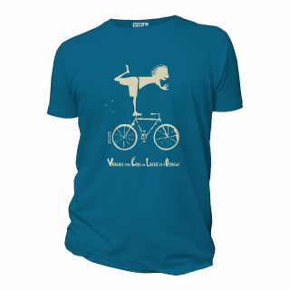 T-shirt coton bio Vélo, couleurs bleu gris, jaune