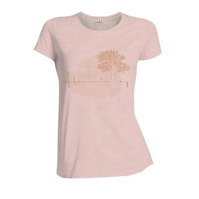 """Tee shirt bio et équitable rose crême chiné""""Ligne de vie"""""""