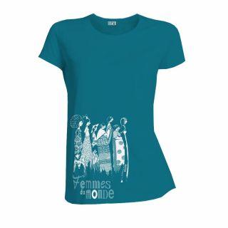 """T-shirt coton bio """"femmes du monde"""" bleu"""