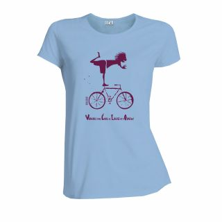 T-shirt femme coton bio vélo bleu