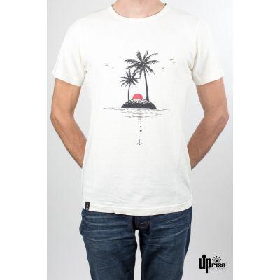 Tee shirt chanvre coton imprimé île