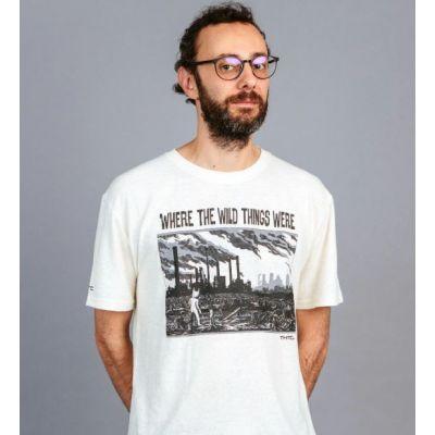 Tee shirt chanvre et coton bio blanc cassé fin ou début d'un autre monde