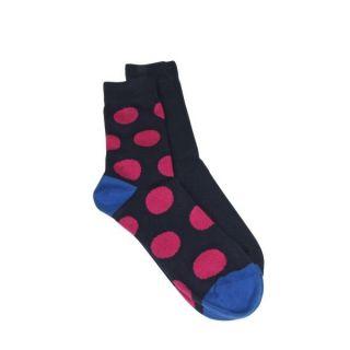 Lot de 2 paires de chaussettes marine et grands pois roses coton bio