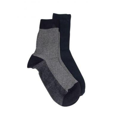 Lot de 2 paires de chaussettes uni marine et petits chevrons, matière coton bio